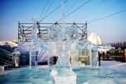 【哈爾濱國際組合冰雕賽】一等獎作品:俄羅斯布拉戈維申斯克隊的《魔術師》(新華社)
