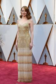 出爐奧斯卡影后愛瑪史東身穿Givenchy裙子,出席奧斯卡。(法新社