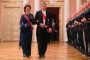 瑞典王后西爾維婭(Queen Silvia,左)與芬蘭總統尼尼斯特(Sauli Niinisto)(法新社)