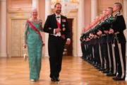挪威王儲哈康(Crown Prince Haakon,右)與丹麥女王瑪格麗特二世(Queen Margrethe II )(法新社)