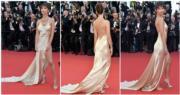 《失蹤罪》女星Emily Ratajkowski穿著露背低胸高衩裙亮相。