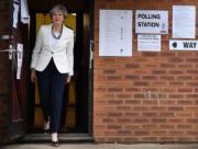 文翠珊步出投票站。(法新社)