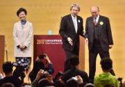 2017年3月,林鄭月娥(左起)、曾俊華和胡國興出席2017行政長官選舉論壇。(資料圖片)