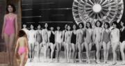 1976年的港姐泳裝大合照,最上鏡小姐繆騫人(右四),當年她穿的粉紅色大露背泳裝甚性感。(資料圖片)