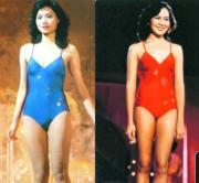 1982年的港姐泳裝不再單調的淨色,加了閃閃花紋。亞軍鄺美雲(左圖)及冠軍梁韻蕊(右圖)。(資料圖片)