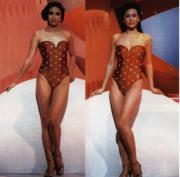 1986年港姐泳裝設計變得花巧。亞軍吳婉芳(圖左)、冠軍李美珊(圖右)。(資料圖片)