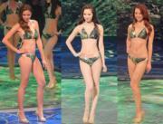 2016年港姐的泳裝跟上屆的款式與顏色也相近。冠軍馮盈盈(中)、亞軍劉穎鏇(左)、季軍陳雅思(右)。