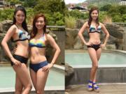 2017年港姐台灣外景,佳麗的三點式泳裝令人O嘴,大大條泳褲加涼鞋……邱晴與張寶欣(左圖),大熱門伍樂怡(右圖)。