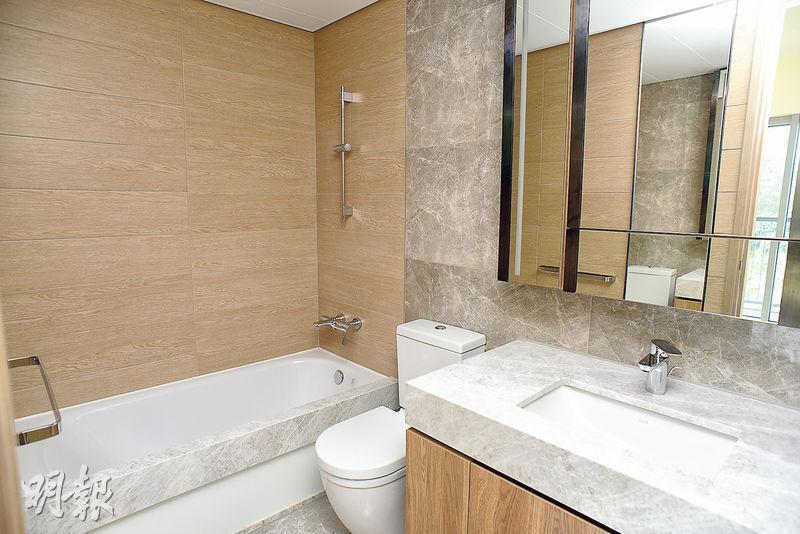 浴室設計簡約,配以雲石磚,突顯優雅風格。