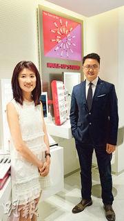 AmorePacific香港市務總監鄭載歡(圖右)表示,公司計劃今年新增10間分店至60間,年內第3季將於旺角西洋菜街開設LANEIGE旗艦店。圖左為AmorePacific香港高級市場經理陳美慧。
