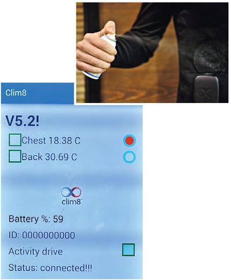 Florian向自己身上噴射冷凍劑,以模擬氣溫急降(上圖)。Clim8的手機App(下圖)即顯示,他胸前的體溫急降至十多度,而隱藏於衣服物料夾層內的發熱裝置亦隨即運作(紅色代表正在發熱)。