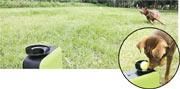 Dot Pet Launcher射出球後,狗狗即興奮地跑去執波(上圖)。狗狗將之放回發球器頂部的入球位置,它就會跌出狗糧,作為獎勵,稍後又會自動發球。