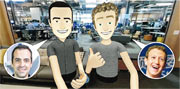fb創辦人朱克伯格透露,人稱「虎哥」的小米全球副總裁Hugo Barra將成為其虛擬實境業務的副總裁。朱克伯格(右)又在自己的fb網頁,展示與「虎哥」(左)的VR自拍照。(網上圖片)