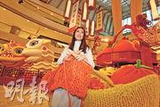 The Mint Box Studio創辦人黃玉婷透露,在ifc商場展出的巨型賀年裝飾,乃是以圖中的特製巨型冷針織成,一共花了她兩個多星期,以及十多名女工一個多月。