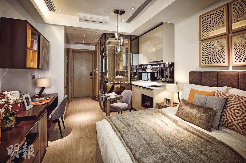 新地南昌站匯璽最新開放實用267方呎開放式戶型示範單位,內籠格局與酒店房間相似。