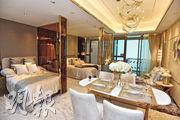 1房半示範單位以玻璃代替睡房牆身,除可維持採光度外,亦可打造雙寢區。