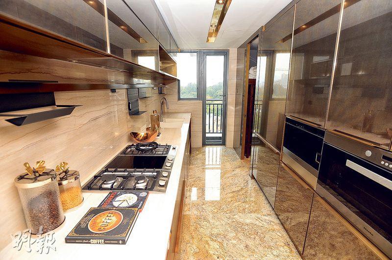 廚房長形設計,設備位於左右,並有不少嵌入式家電。