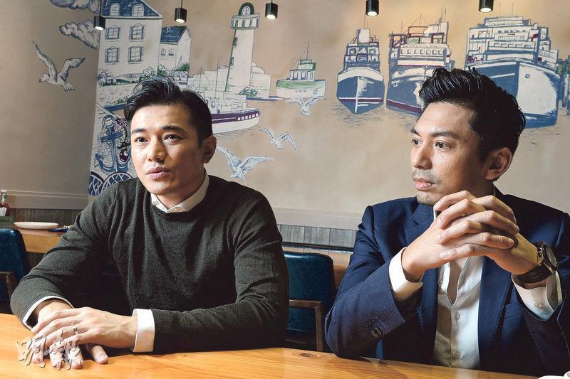 黃長興(左)認為香港樓價易升難跌,想上車或換樓都不容易。又表示有意參股Neway太子爺、近期涉足地產發展的20 & Co董事薛世恒(右)的地產項目。(劉焌陶攝)