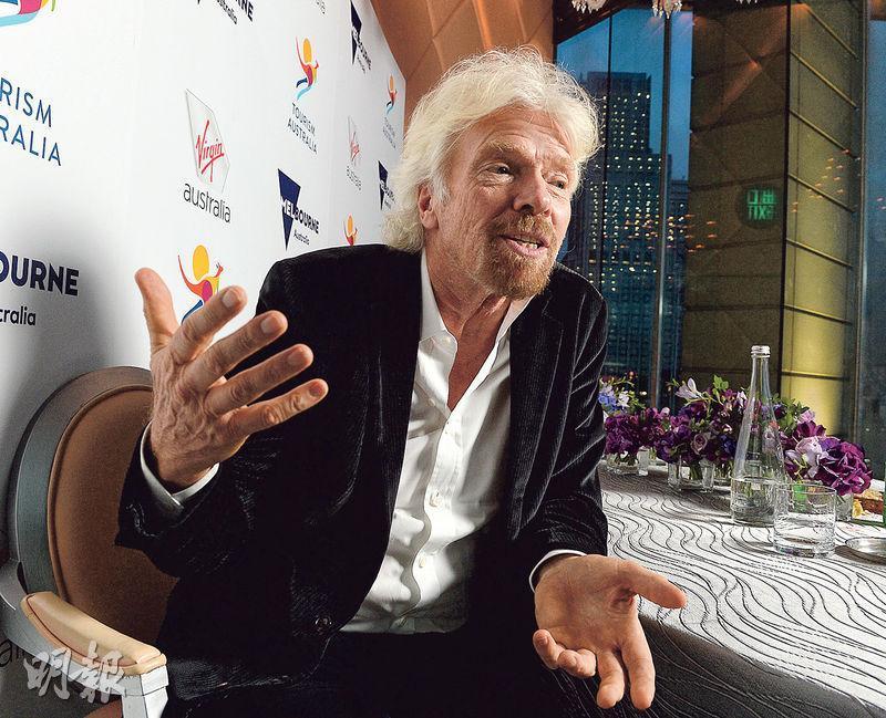 維珍集團創辦人理查.布蘭森認為,香港是全球最具有企業家精神的城市之一,這一點在過去20年未曾改變,更直言現在的香港比以前更有活力。(劉焌陶攝)