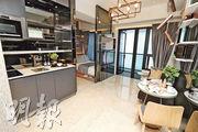 喜遇示範單位以18樓C室為藍本,客飯廳面積逾100方呎,全屋以時尚風格打造。