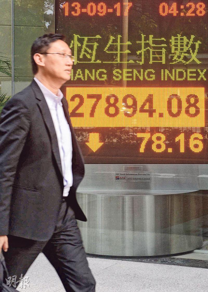 恒指昨早最多挫221點,收市則報27894點,跌78點,成交894億元。(中通社)