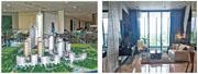 胡志明市近期新盤Empire City 98平方米兩房單位售價約261萬港元。圖左為樓盤模型,圖右為示範單位。