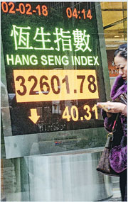 恒指昨日收市跌40點或0.12%,收報32,601點,總結全周累跌552點或1.67%,連升6周後升勢斷纜。(中新社)