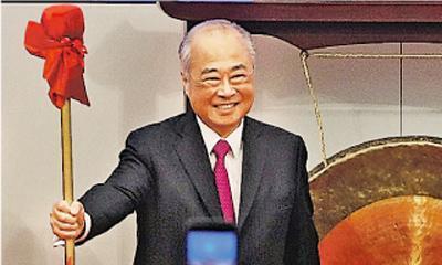 港交所主席周松崗(圖)將於4月退任,對於盛傳接班的史美倫,周指她在金融界年資長,有助推動港交所發展。(李紹昌攝)