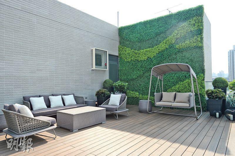 單位連一個957方呎之空中平台,以綠色植物裝飾,戶主可在鬧市區感受大自然氣息。