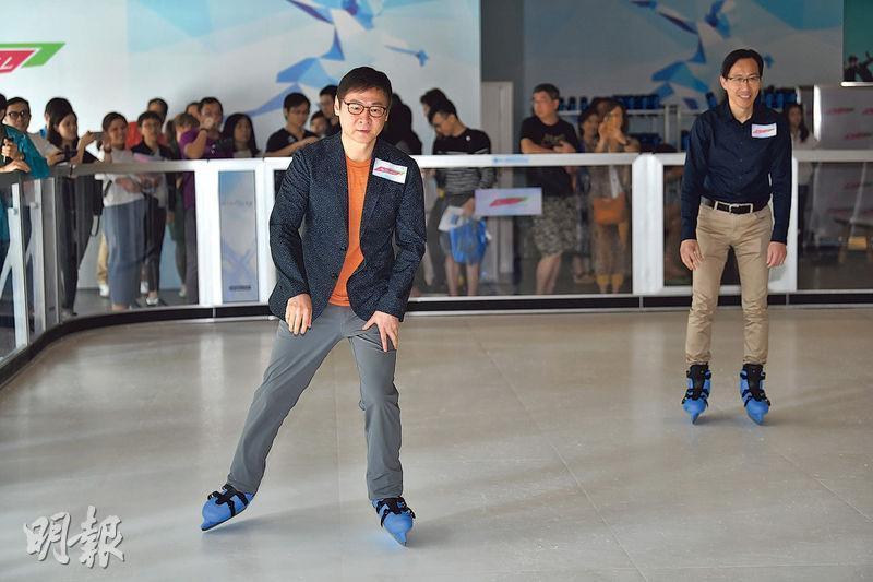 We Go Mall設有六大主題區,包括全港首個面積逾千方呎的「生態冰」環保溜冰場。百利保范統(圖左)表示,若溜冰場需求大,會於商場其他位置再擴大溜冰場。(馮凱鍵攝)