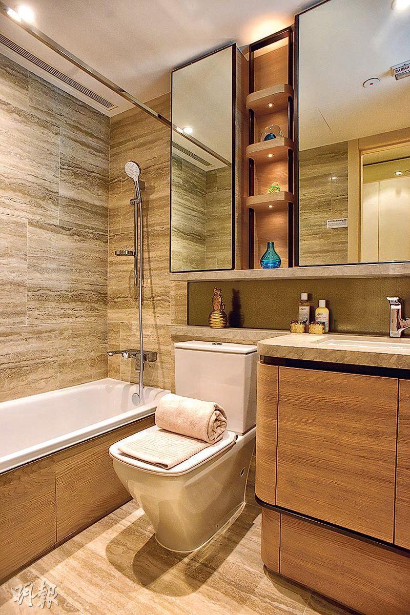 浴室設置物架,方便住戶放置日用品。(攝影 黃志東、蘇智鑫)