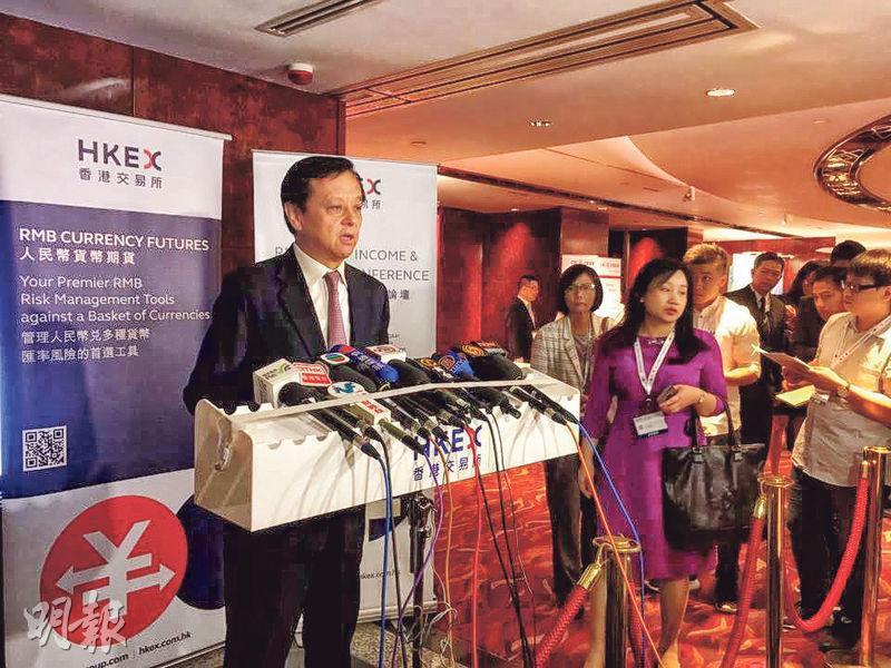 港交所行政總裁李小加表示,債券通南向交易並非現時的優先考慮,目前海外債券收益率比中國低,暫需求有限。(歐陽偉昉攝)