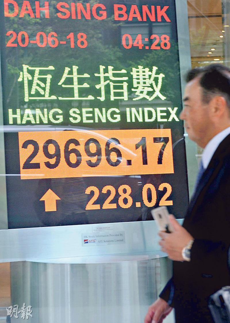 港股早段曾報跌0.2%,午後受A股帶動衝高,恒指最多升476點,至29,944點,但在3萬點關口前受阻後升幅收窄,收市報29,696點,升228點。(中新社)