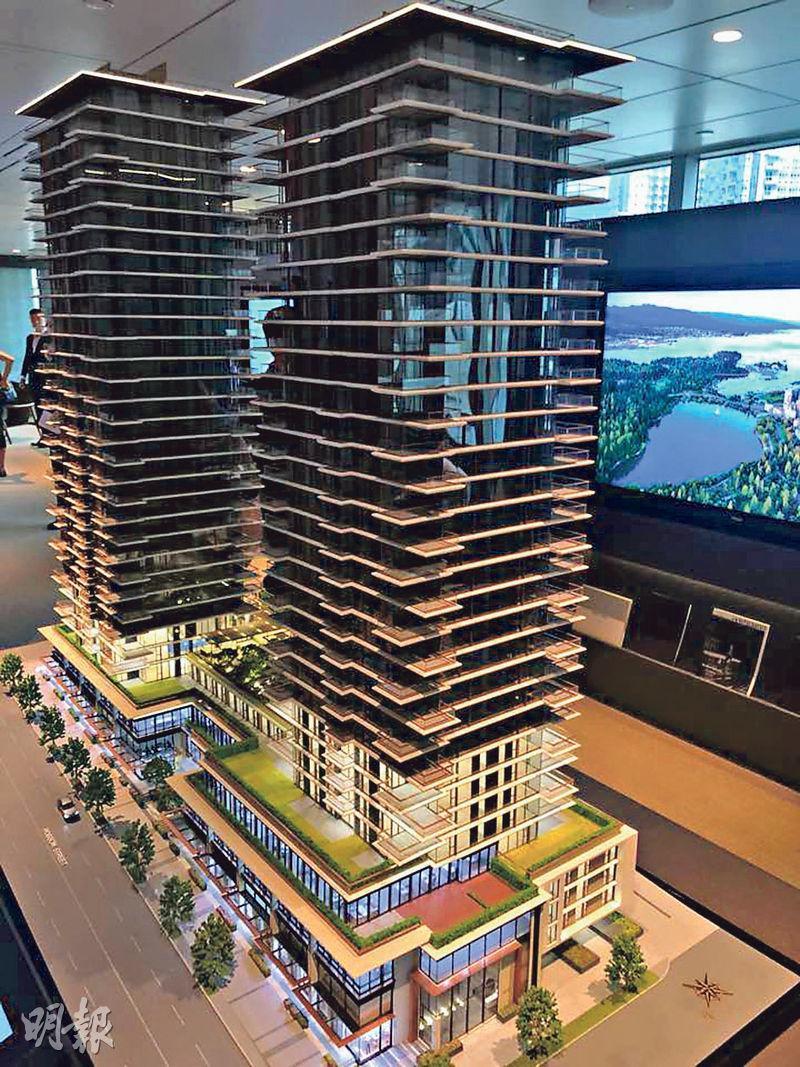泛海在溫哥華推出分層住宅項目Landmark On Robson,入場費約120萬至130萬加元(約707萬至766萬港元)。圖為項目模型。