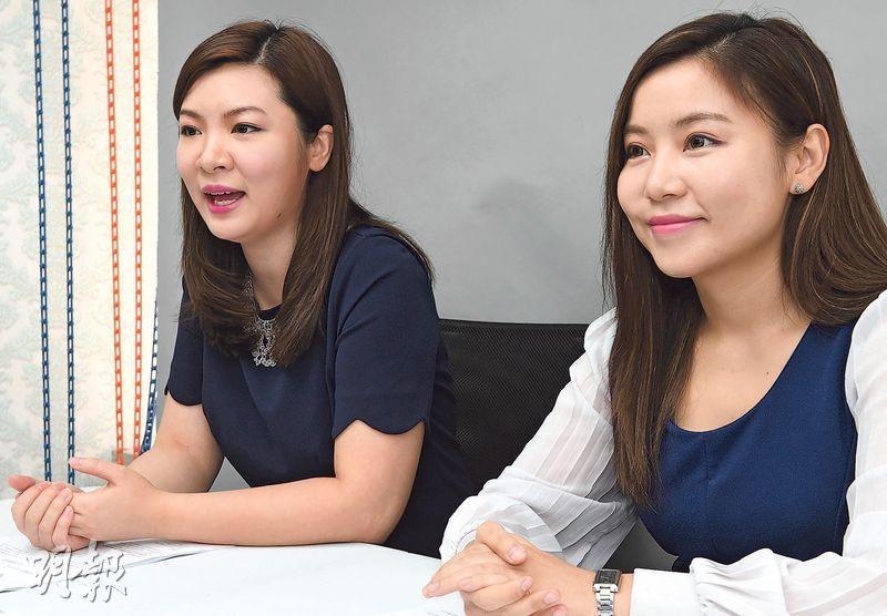 香港婚活有限公司創辦人張惠萍(左)表示,有樓非唯一擇偶條件。旁為另一創辦人黃嘉如。(劉焌陶攝)