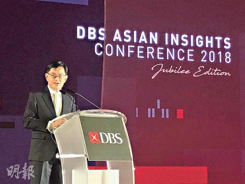 新加坡財政部長王瑞杰指出,中國及印度擁有全球最多的人口,而東盟地區的中產階段有極高的增長潛力。(廖毅然攝)