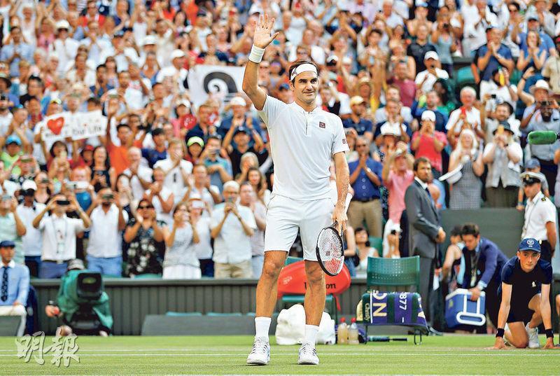 費達拿在職業生涯贏得20個大滿貫冠軍,成績前無古人。圖為月初他穿上新贊助商優衣庫運動服裝參加溫布頓網球賽。(路透社)