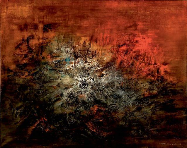 趙無極 ( 法國/ 中國,1920-2013)、《14.12.59》油彩 畫布 130 x 162 公分(51 1/4 x 63 7/8 英吋)、1959年作、成交價:港元176,725,000 / 22,630,971美元。