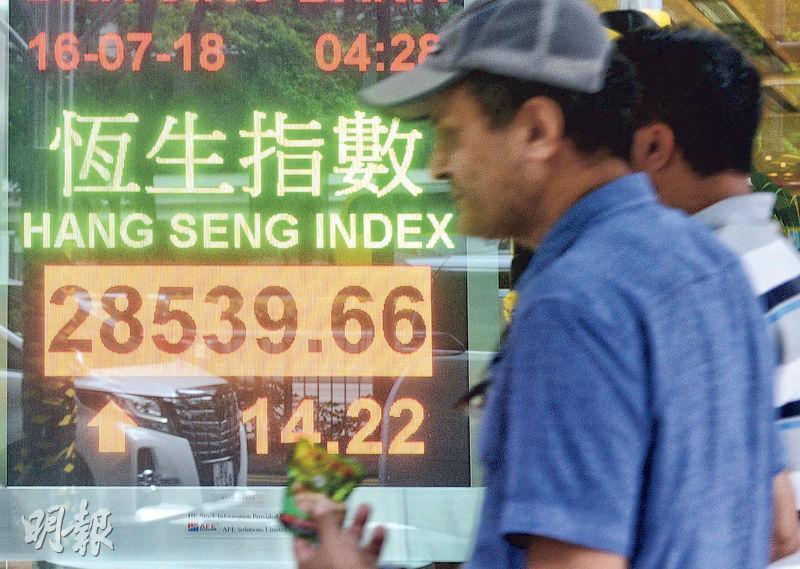 港股缺乏方向,昨日全日波幅只有372點,收市升14點或0.05%,報28,539點;全日成交額只有約700億元,是1年以來新低。(中新社)