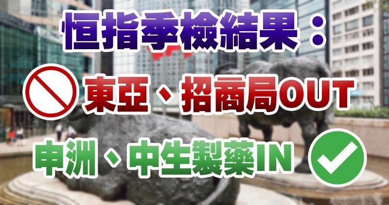 東亞銀行爆冷踢出恒指 申洲中生製藥染藍