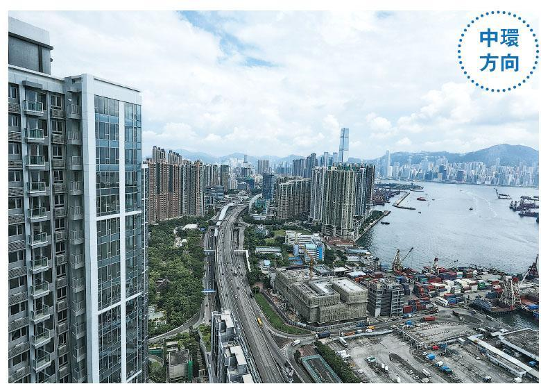 項目前排高層向南大戶可享開揚海景市景,遠眺中環。