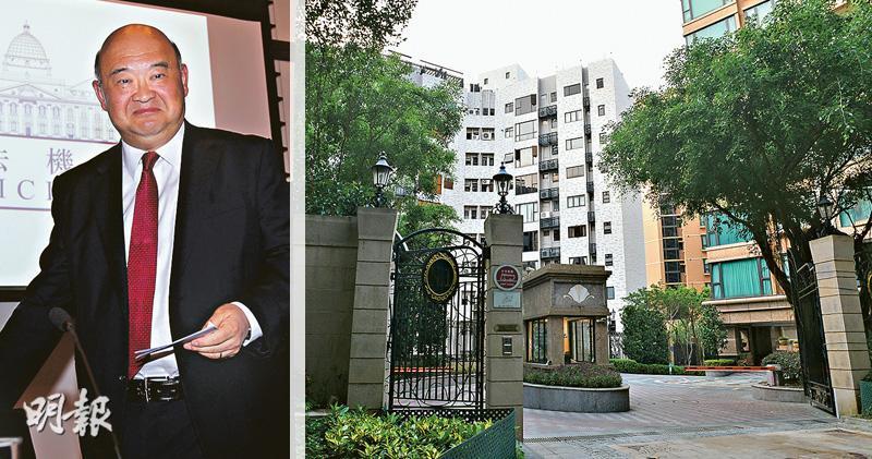 香港終審法院首席法官馬道立(左圖)於上月底以近半億元購入西半山慧苑高層單位(右圖紅框示)連車位,物業樓齡逾30年,實用面積1475方呎,屬3房1套大單位,望山景為主。(蘇智鑫攝)