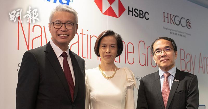 圖左起:滙豐趙民忠,畢馬威劉麥嘉軒,香港總商會陳利華(蘇智鑫攝)
