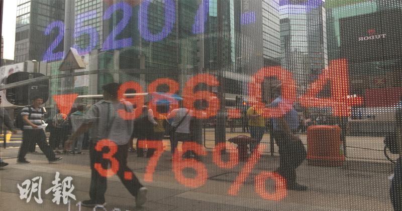 恒指半日跌986點 藍籌股全軍覆沒 逾1900隻股份下跌(劉焌陶攝)