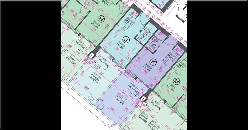 1座1樓J室及K室平面圖(資料來源:尚悅‧嶺樓書)