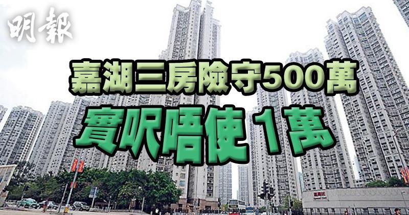 嘉湖3房連約盤險守500萬 重回年初價