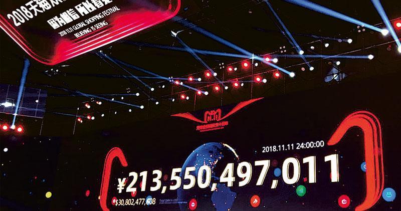 阿里巴巴「雙十一」購物節踏入十周年,全日成交額再創新高,合計達2135億元。(蕭嘉聰攝)