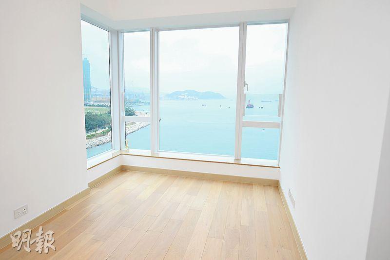 會德豐首次開放將軍澳MONTEREY現樓單位,位於1座高層C室,屬實用1092方呎4房戶,主人睡房設轉角大窗,增加採光度,享開揚海景。(賴俊傑攝)