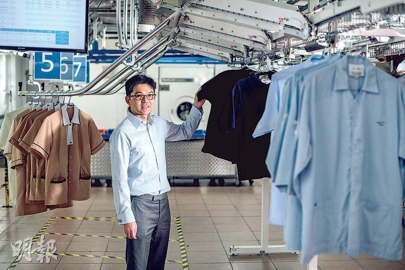 豐盛服務副主席兼執董林煒瀚表示,在洗衣工序中應用RFID技術等「箍客」,為公司帶來新而穩定的收入來源。(馮凱鍵攝)