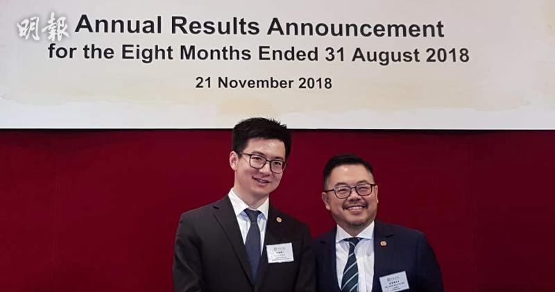 中教控股首席執行官及執行董事哈愷(左)、首席財務官莫貴標(右)(歐陽偉昉攝)
